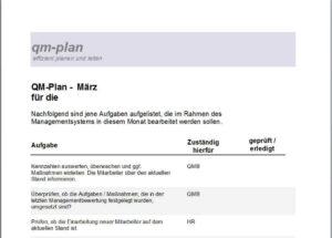 Monatlicher QM-Plan