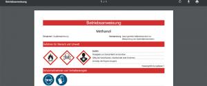 Beispiel für Betriebsanweisung aus Web SARA