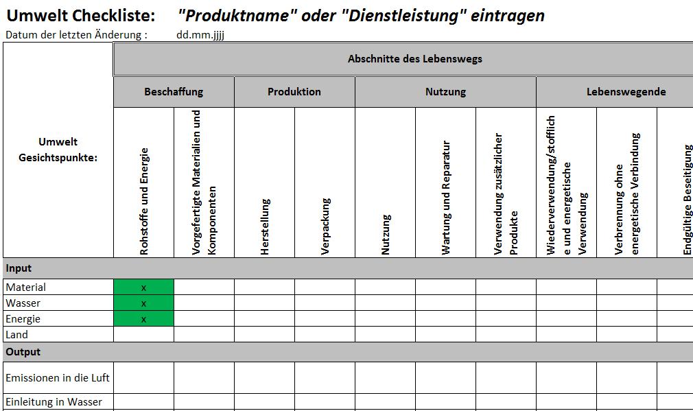 Lebensweg-betrachtung, Auszug aus Delta-Paket ISO 9001:2015 und ISO 14001:2015